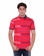 Venetian Striped Men's Polo Neck Half Sleeve Red T-Shirt