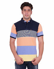 Venetian Striped Men's Polo Neck Half Sleeve Blue, Orange T-Shirt