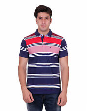 Venetian Striped Men's Polo Neck Striped Dark Blue, Red T-Shirt