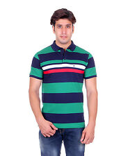 Venetian Striped Men's Polo Neck Striped Dark Blue, Green T-Shirt