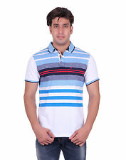 Venetian Striped Men's Polo Neck White, Light Blue T-Shirt