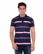 Venetian Striped Men's Polo Neck Dark Blue T-Shirt