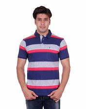 Venetian Striped Men's Polo Neck Half Sleeve Blue, Grey T-Shirt