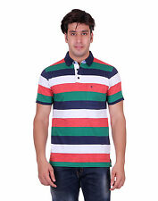Venetian Striped Men's Polo Neck Half Sleave Multicolor T-Shirt