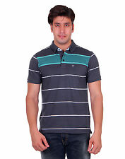 Venetian Striped Men's Polo Neck Half Sleave Grey, Green T-Shirt