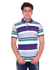 Venetian Striped Men's Polo Neck Half Sleave Purple T-Shirt