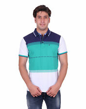 Venetian Striped Men's Polo Neck Half Sleave Navy, Green, White T-Shirt