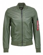 ALPHA INDUSTRIES giacca in pelle uomo MA-1 LW II scuro verde
