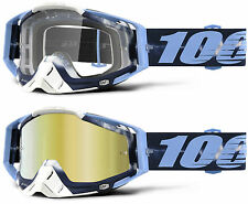 100% PROZENT RACECRAFT MX MOTOCROSS BRILLE BATIKEN BLAU TRANSPARENT/