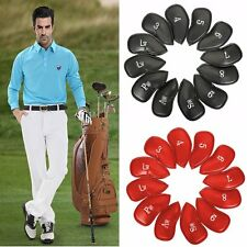 12 x PU Leather Head Cover Golf Iron Club Putter Headcover 3-SW Set Black/Red