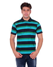 SAHAJ RANG MEN'S STRIPED BLACK/GREEN POLO T. SHIRT