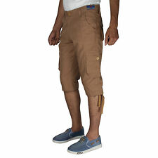Greentree Mens Cotton Shorts 3/4 Capri 6 Pocket Cargo Khaki Shorts MASR97