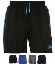 BRAND Lonsdale Two Stripe Woven Shorts Mens Charcoal/Black