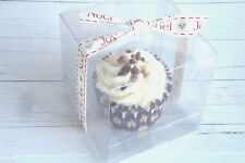 Luxury Clear 8.5cm Cube Cupcake, Sweets, Wedding Favour Gift Boxes, Free Inserts