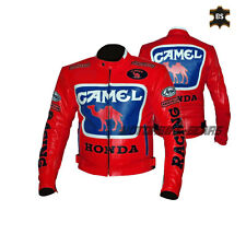 Red CE ARMOURED Leather jacket camel style motorbike racing jacket any size sale