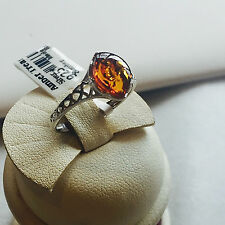 Genuine Russian Vintage Baltic Amber Ring Butterscotch Egg Yolk Silver Polish