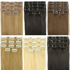 """24"""" 62cm Women Long Straight 5 Pieces Clip In Full Head Hair Extension 7 colors"""