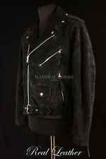 Mens BRANDO Black Suede Hide Leather Cruiser Motorcycle Biker Motorbike Jacket