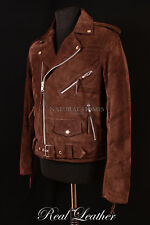Mens BRANDO Brown Suede Hide Leather Cruiser Motorcycle Biker Motorbike Jacket