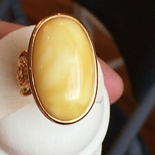 14k Gold plated Genuine Russian Baltic Vintage Amber Butterscotch Egg Yolk Ring