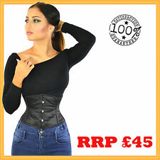 Black Satin Steel Boned Waist Training Corset Waspie Cincher