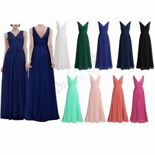 Women's V Neck Long Prom Bridesmaid Party Wedding Evening Formal Prom Gown Dress