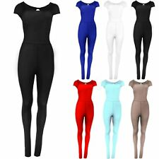 Ladies Womens Celeb Cap Sleeve Keyhole Stretch All In One Playsuit Jumpsuit 8-22