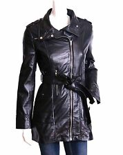Ladies Belted Hip Length Leather Coat Clearance Reduced Cheap NEW Black