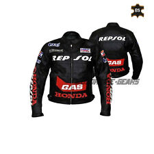 Black leather jacket repsol racing motorbike gear any size mens riding apparel