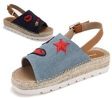 Ladies Denim Wedge Espadrilles Ankle Strap Platform Peep Toe Sandals Size UK 3-8