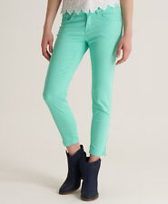 New Womens Superdry Low Rise Super Skinny Crop Jeans Phosphorus Mint Green