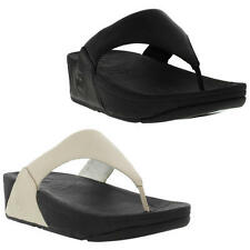 Fitflop Lulu Leather Womens White Black Flip Flop Toe Post Sandals Size 5-7