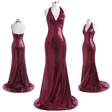 Sequined Floor-Length Halter V-Neck Sexy Evening Prom Party Dress Ball Gowns New