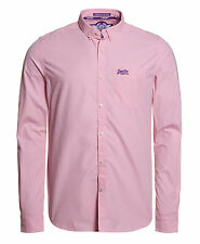 Superdry Hombre Camisa London Button Down Micro Gingham Rosado