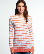 Superdry Mujer Jersey de punto a rayas Filey Beach Hot Coral Stripe