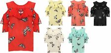 New Ladies Short Sleeve Cut Out Cold Shoulder Butterfl Print Layered T-Shirt Top