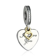authentic 925 sterling silver Pendant Beads&Gold Heart Charm Bead genuine charms