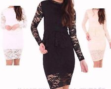 UK 8-18 New Floral Women Ladies Peplum Lace Long Sleeve Party Midi Bodycon Dress
