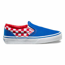 Scarpe Vans Classic Slip-On Checkerboard Racing Red Imperial Blu Bambino/A/Donna