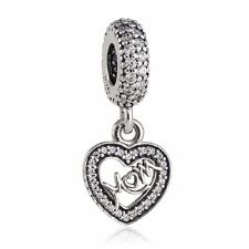 authentic 925 sterling silver charm Heart Pendant with clear cz genuine charms