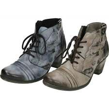 Remonte Lace Up Zip Heel Cushioned Insole Metallic Combination Ankle Boots D8771