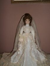 Vintage Porcelian Victorian Bride Doll New In The Original Box