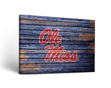 Ole Miss Rebels Canvas Wall Art Weathered Design