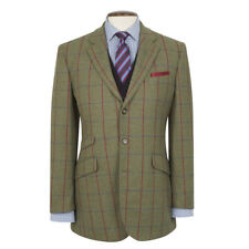 New Brook Taverner Yorkshire Tweed Jacket- Green with Navy/Red Check - All Sizes