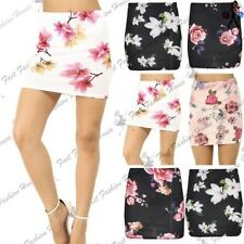 Womens Ladies Floral Rose Printed Stretchy Pencil Bodycon Fit Bandage Mini Skirt