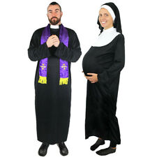 COUPLES PREGNANT NUN AND PRIEST COSTUME ADULT NOVELTY FANCY DRESS LADIES MENS