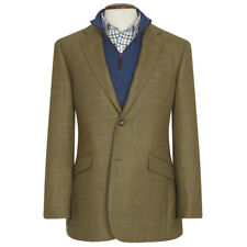 New Brook Taverner Hindhead Tweed Blazer - Olive with Navy Check - Choose Size