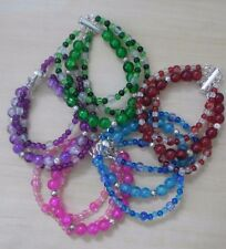 GIRLS BRACELET 3 STRAND BEADS MAGNETIC CLASP handmade *HALF PRICE P&P AVAIL
