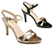 LADIES HIGH HEEL METALLIC BLACK GOLD CUT OUT SLINGBACK BUCKLE SANDALS SHOES SIZE