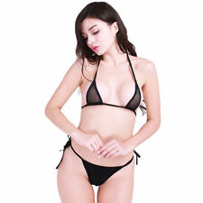 Women Mesh Halter Bikini Top Micro G-string Thongs Sleepwear Swimwear Beachwear